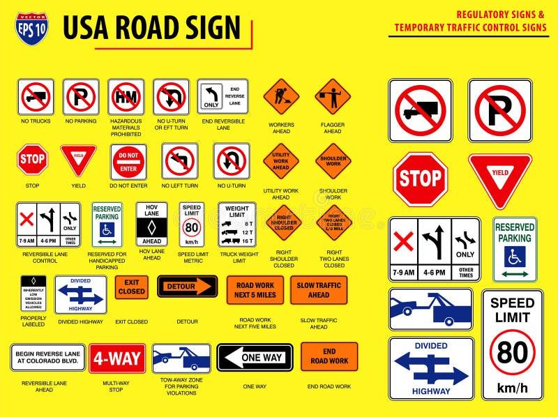 Ajuste do sinal de estrada dos EUA ilustração stock