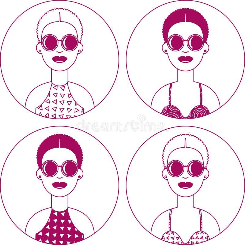 Ajuste do sinal simples de quatro ícones redondos de mulheres na moda bonitas novas com cabelo encaracolado curto e óculos de s ilustração royalty free