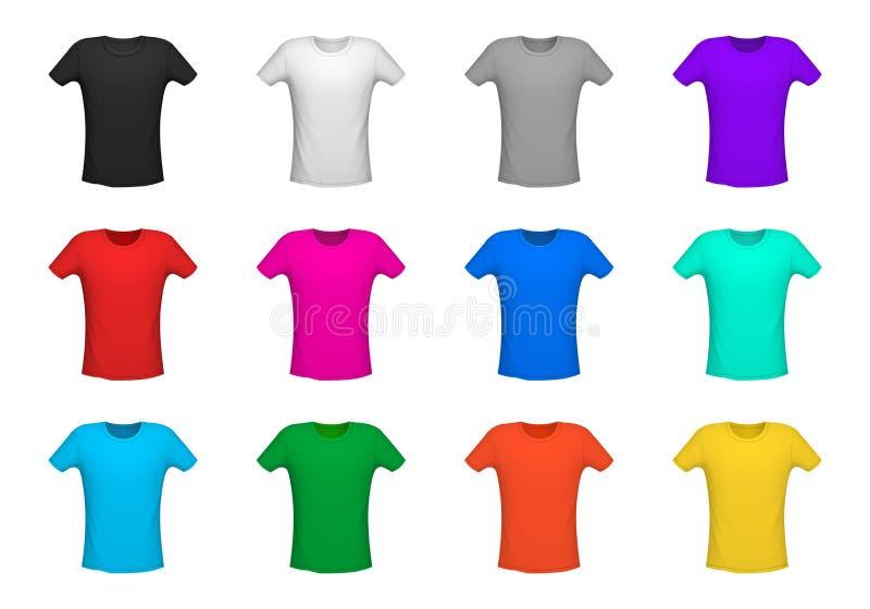 Ajuste do t-shirt diferente, ilustração do vetor isolada do fundo ilustração royalty free