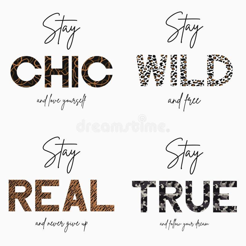 Ajuste do t-shirt do slogan com textura da pele animal da corrente, da camuflagem, do tigre e do leopardo do ouro Gráfico da tipo ilustração do vetor