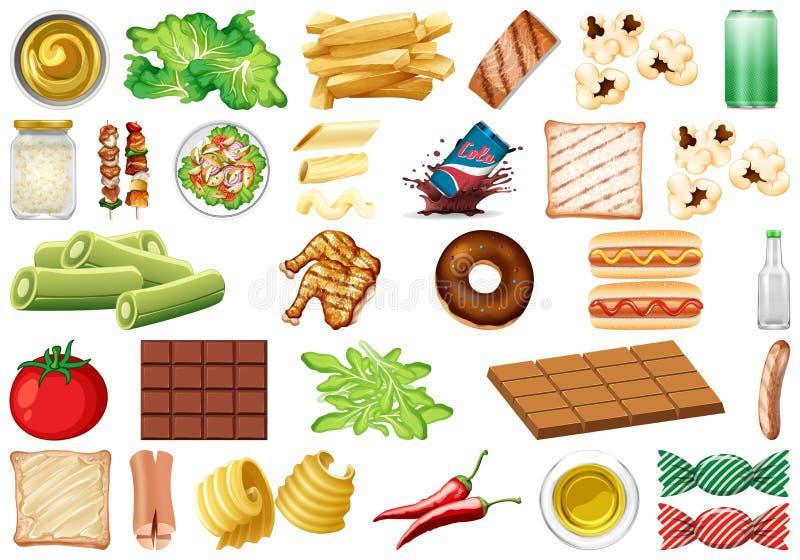 Ajuste do tema isolado dos objetos - alimento e bebidas ilustração royalty free
