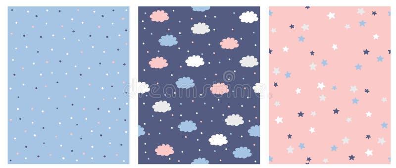 Ajuste do teste padrão sem emenda do vetor 3 com os pontos, as nuvens e as estrelas azuis, cor-de-rosa e brancos Fundo cor-de-ros ilustração stock