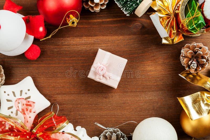 Ajuste do tiro diferente do close up das decorações do Natal, vista superior fotos de stock royalty free