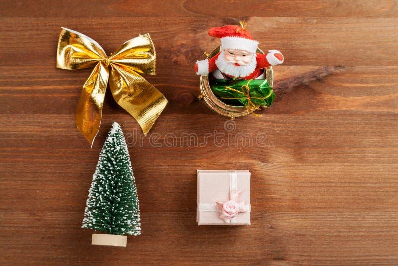 Ajuste do tiro diferente do close up das decora??es do Natal, vista superior fotografia de stock royalty free