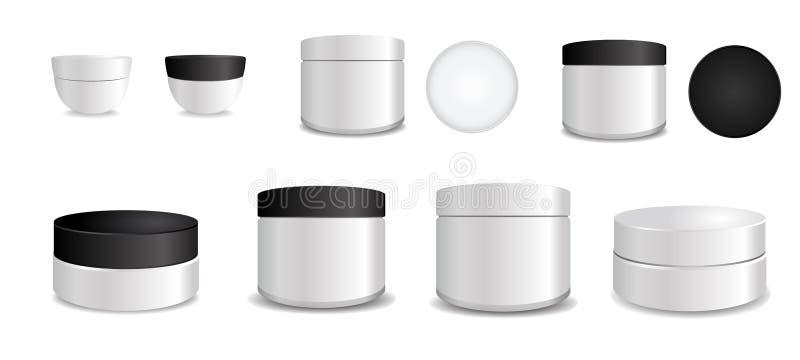 Ajuste do tubo plástico branco com os tampões redondos preto e branco Empacotamento do vetor trocista acima do molde Coleção asce ilustração do vetor