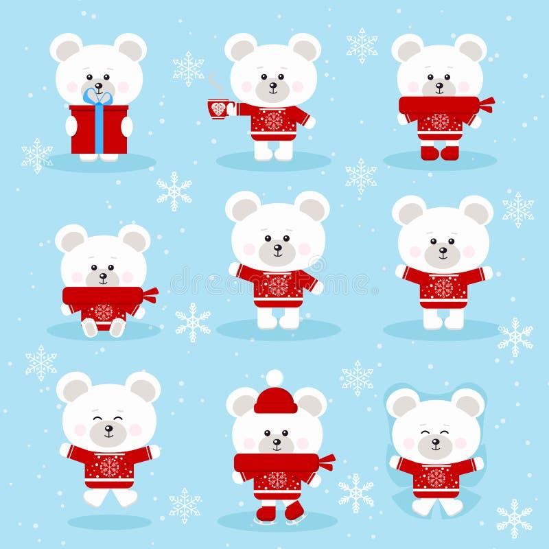 Ajuste do urso polar do Natal bonito na camiseta vermelha em poses diferentes ilustração royalty free