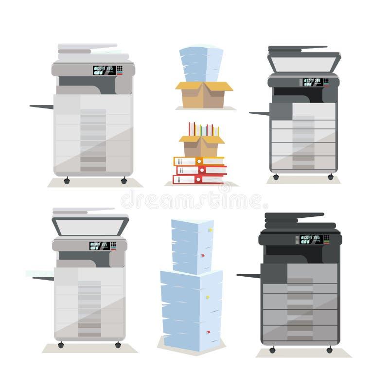 Ajuste do varredor de impressora multifunction da copiadora do assoalho do escritório em duas cores: claro - cinzento, preto com  ilustração royalty free