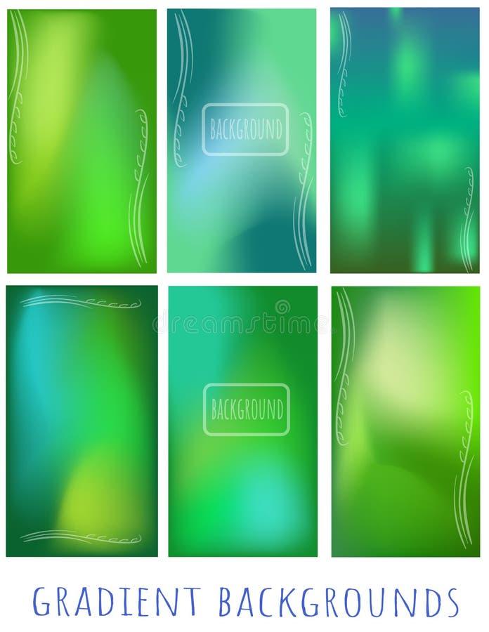 Ajuste do verde do inclinação e dos fundos azuis da malha com a planta para ilustração royalty free