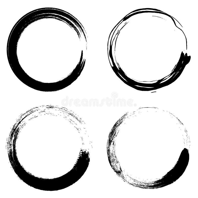Ajuste do vetor escuro dos círculos da escova do grunge ilustração royalty free
