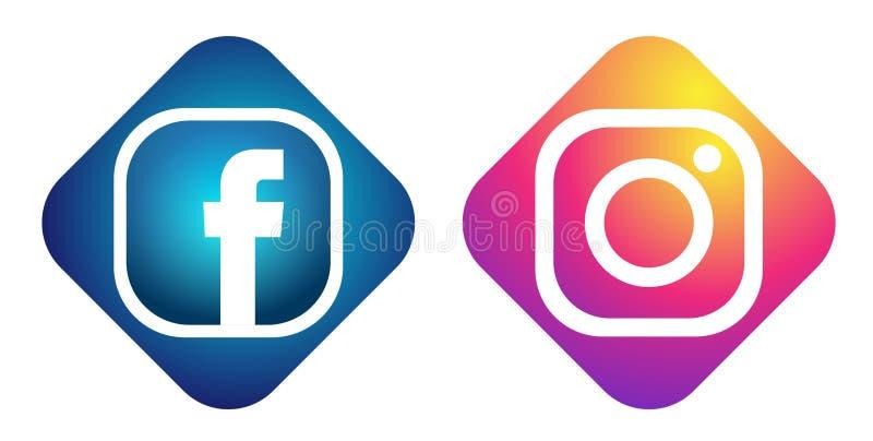 Ajuste do vetor social popular do elemento de Instagram Facebook dos ?cones dos logotipos dos meios no fundo branco nas ilustra?? ilustração royalty free