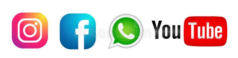Ajuste do vetor social popular do elemento de Instagram Facebook Youtube WhatsApp dos ícones dos logotipos dos meios no fundo bra ilustração royalty free