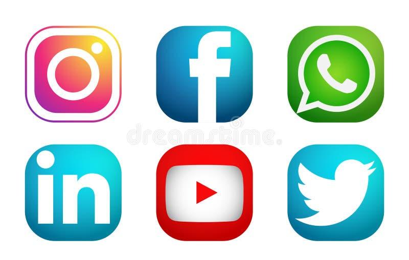 Ajuste do vetor social popular do elemento do linkedin de Instagram Facebook Twitter Youtube WhatsApp dos ?cones dos logotipos do ilustração stock
