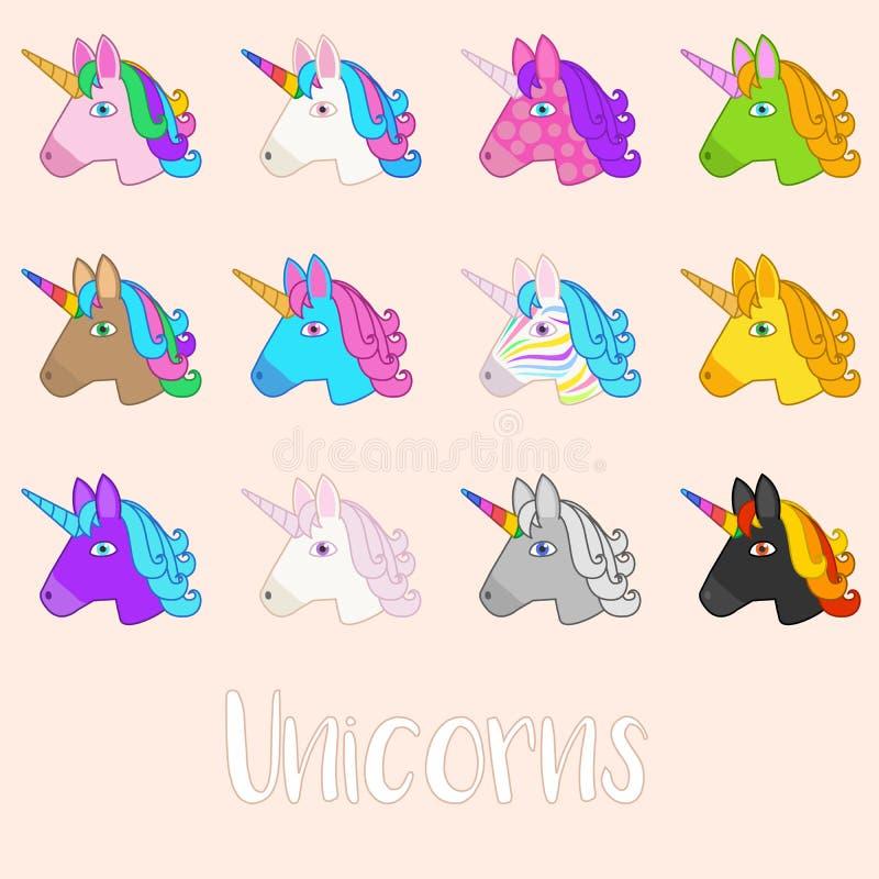 Ajuste do vetor Unicorn Icons do esboço ilustração stock