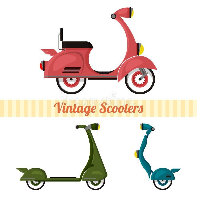 Ajuste do vintage e dos 'trotinette's modernos ajustados no estilo retro Motocicleta, 'trotinette', segway estilizado ilustração stock