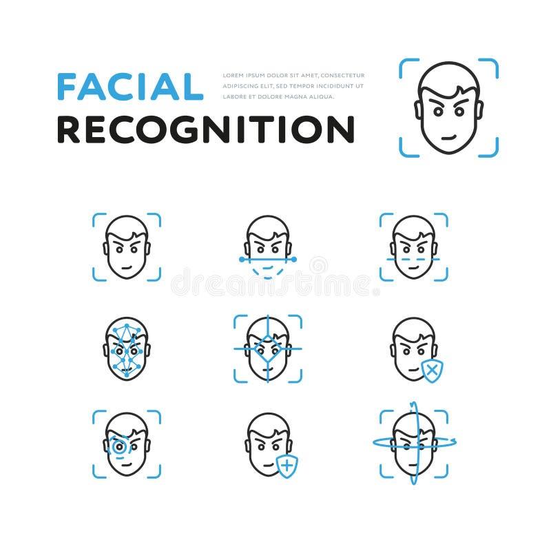 Ajuste do visor para o reconhecimento facial ilustração stock