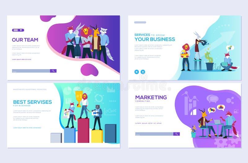 Ajuste do Web site e dos cartões móveis do desenvolvimento do Web site Personalize moldes da ilustração do vetor para o negócio,  ilustração royalty free
