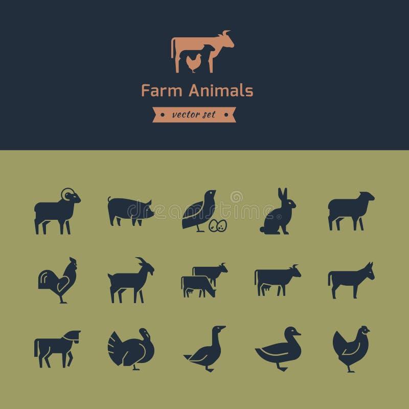 Ajuste dos ícones dos animais da carne com os animais no perfil Cole??o do vetor feita no estilo retro ilustração royalty free