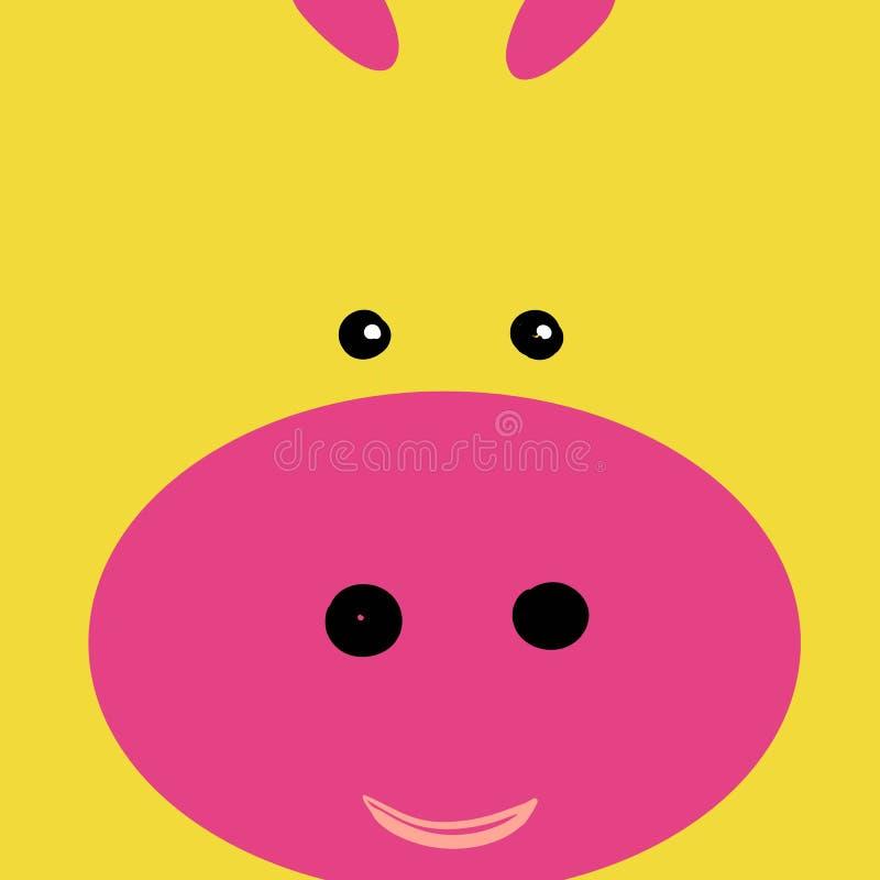 Ajuste dos ícones animais lisos da cara em cores retros brilhantes para etiquetas, cartões, etiquetas e etiquetas Estilo m?nimo,  ilustração do vetor