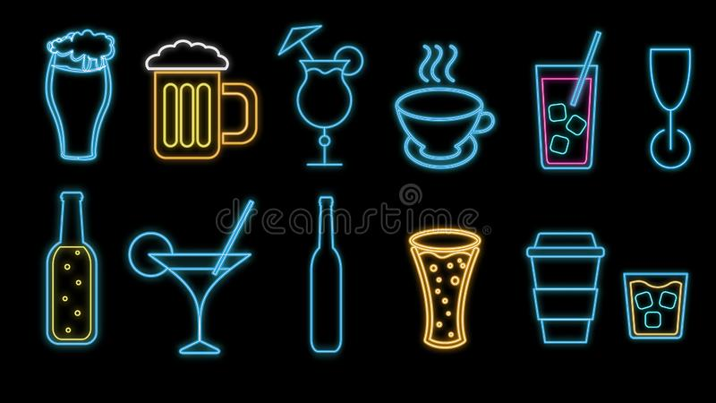 Ajuste dos ícones brilhantes de incandescência do néon abstrato colorido, sinais de bebidas alcoólicas para a barra, café: cockta ilustração do vetor
