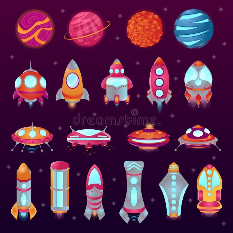 Ajuste dos ícones coloridos dos desenhos animados do espaço Planetas, foguetes, UFO, pires de voo ilustração do vetor