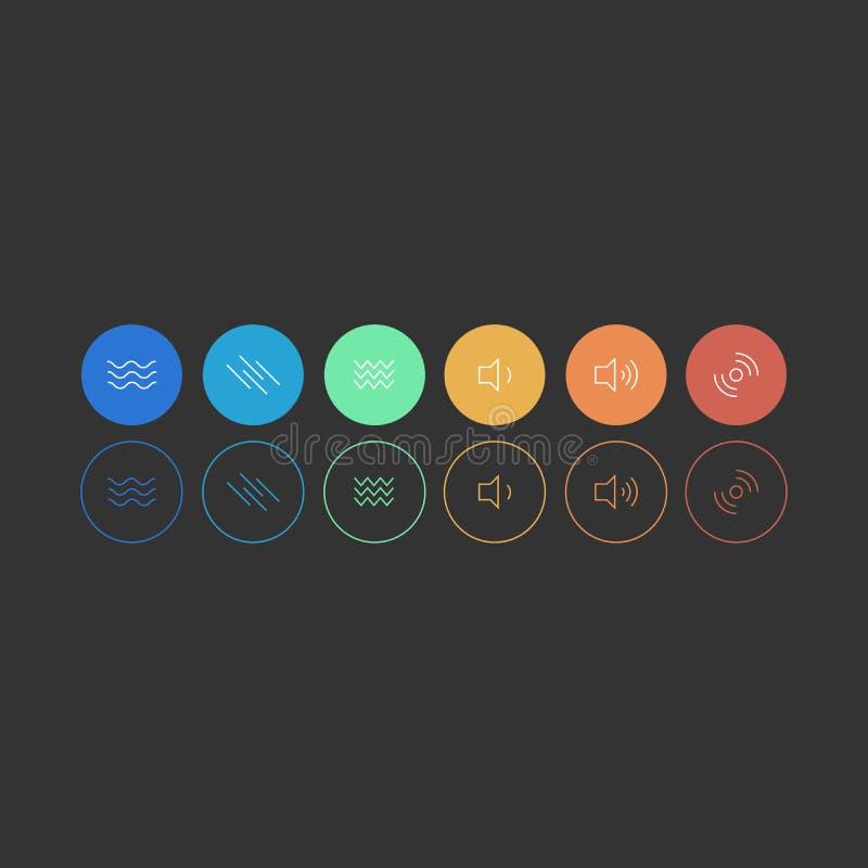 Ajuste dos ícones coloridos enchidos e para esboçar no fundo preto Ícones que referem a música de escuta, ondas sadias, gravação  ilustração do vetor
