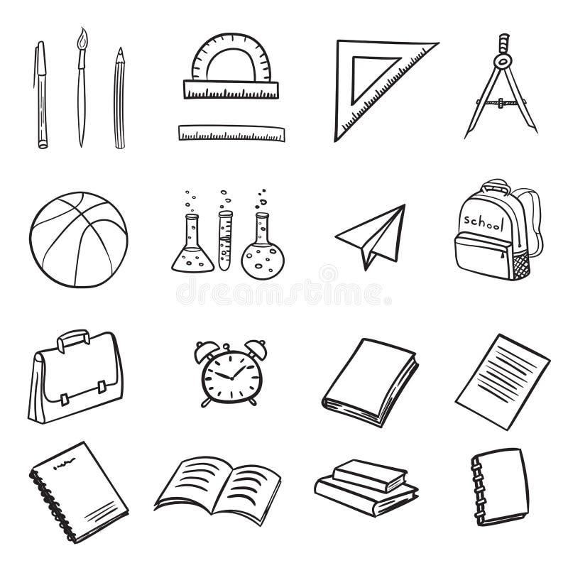 Ajuste dos ícones com elementos da escola no retorno à escola no estilo da garatuja isolada no fundo branco Ilustra??o do vetor ilustração stock