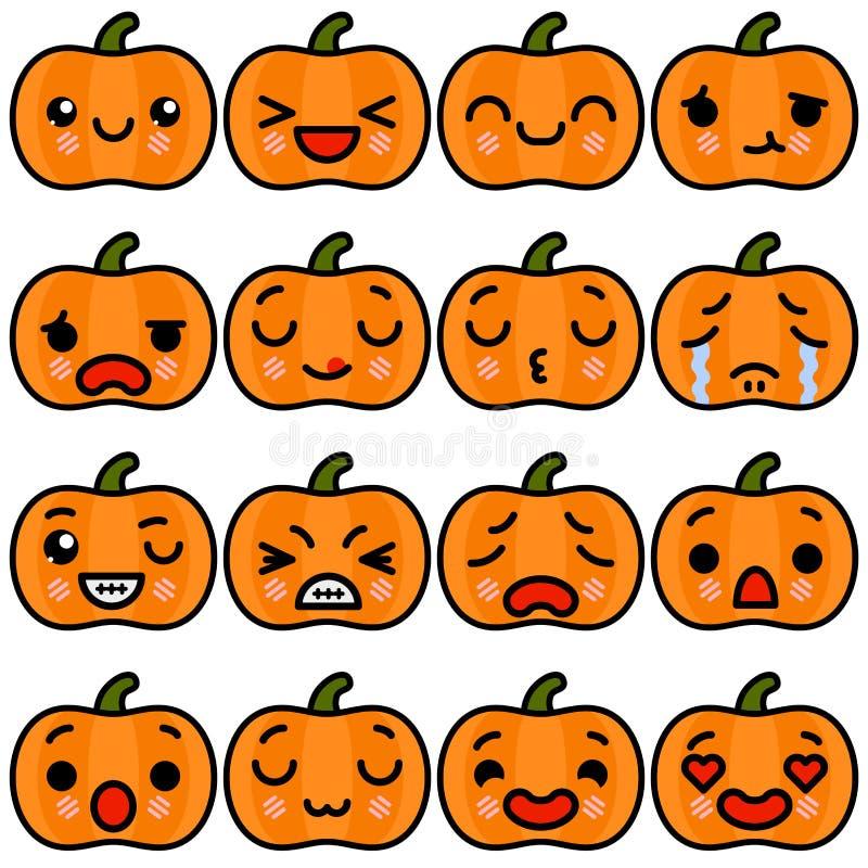 Ajuste dos ícones da abóbora de Dia das Bruxas do emoji com ilustração diferente do vetor das emoções ilustração do vetor
