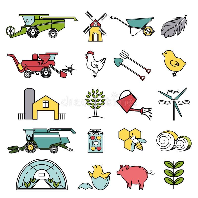Ajuste dos ícones da agricultura no estilo linear ilustração royalty free