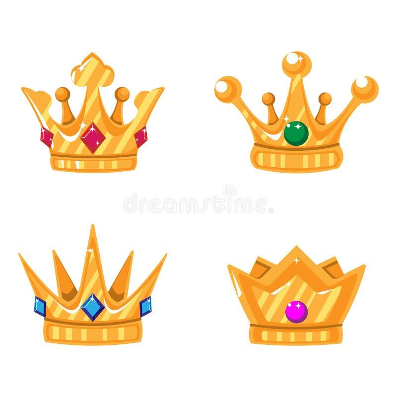 Ajuste dos ícones da coroa do ouro com gemas Vector elementos isolados para o logotipo, etiqueta, jogo, hotel, um projeto do app ilustração stock