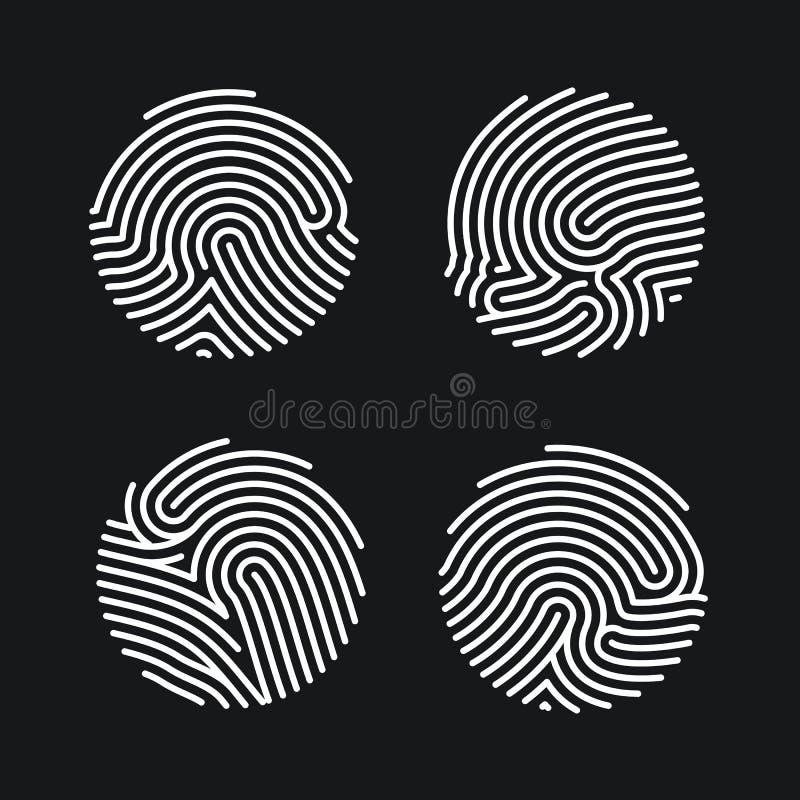 Ajuste dos ícones da impressão digital do círculo projetam para a aplicação Identificação pessoal para a autorização Varredura li ilustração do vetor
