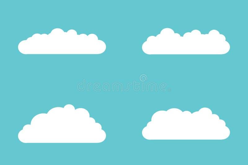 Ajuste dos ícones da nuvem no estilo liso isolados no fundo azul para seu projeto do site, logotipo, app, UI Vector a ilustra??o, ilustração stock