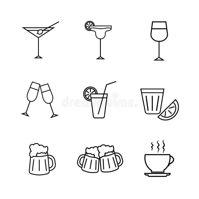 Ajuste dos ícones das bebidas alcoólicas ilustração royalty free