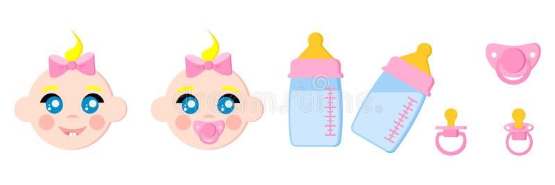 Ajuste dos ícones das caras da criança, garrafas de bebê com leite, manequins do bebê das chupetas, termômetro do bocal, nibbler ilustração royalty free