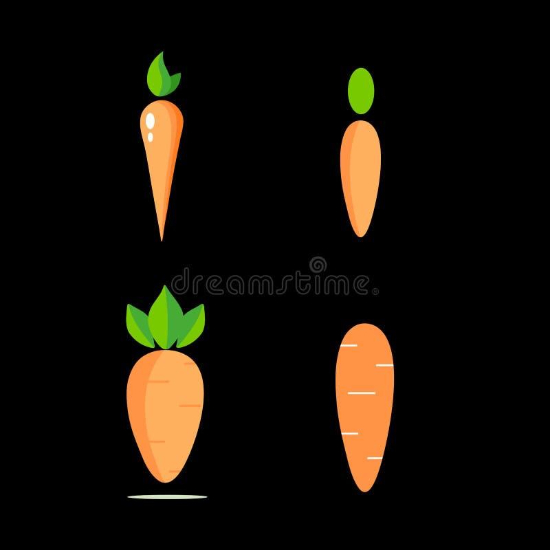 Ajuste dos ícones das cenouras para o logotipo fotografia de stock