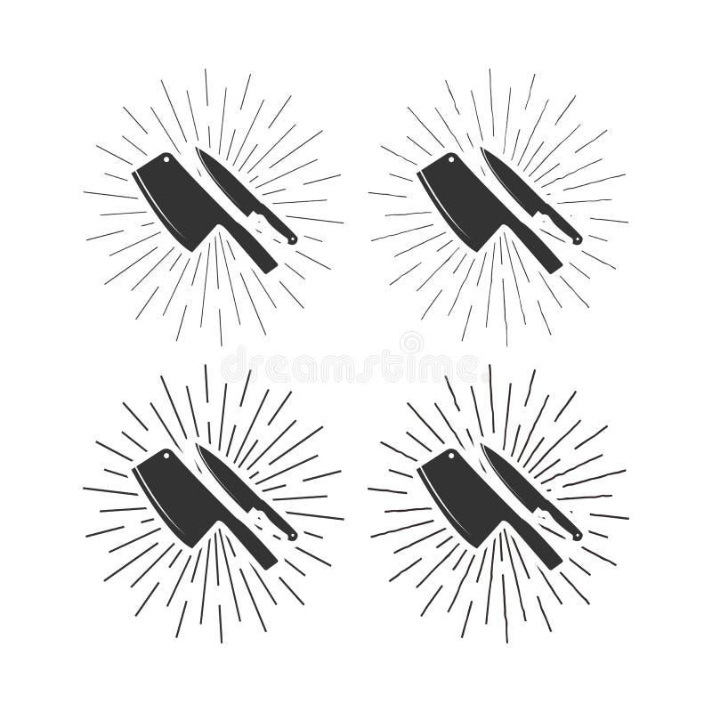 Ajuste dos ícones das facas do restaurante com fundo sunburst ilustração stock
