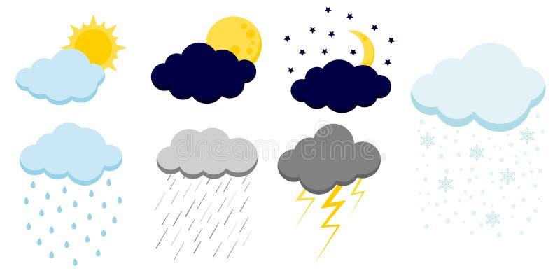 Ajuste dos ícones das nuvens dos desenhos animados isolados no fundo branco ilustração do vetor