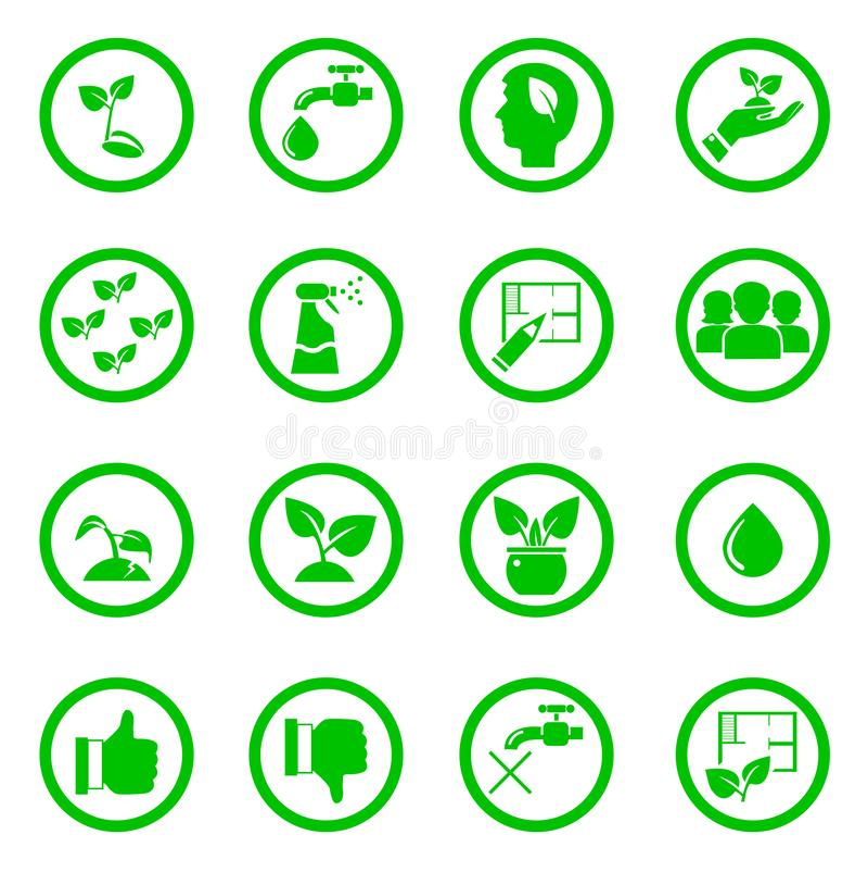 Ajuste dos ícones das plantas verdes nos círculos ilustração do vetor