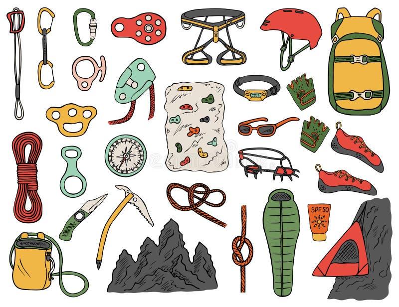 Ajuste dos ícones de escalada desenhados à mão isolado ilustração royalty free