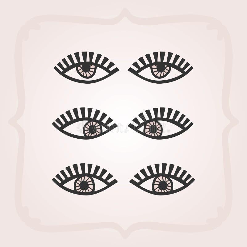 Ajuste dos ícones de vista abertos femininos dos olhos do sumário preto ilustração do vetor