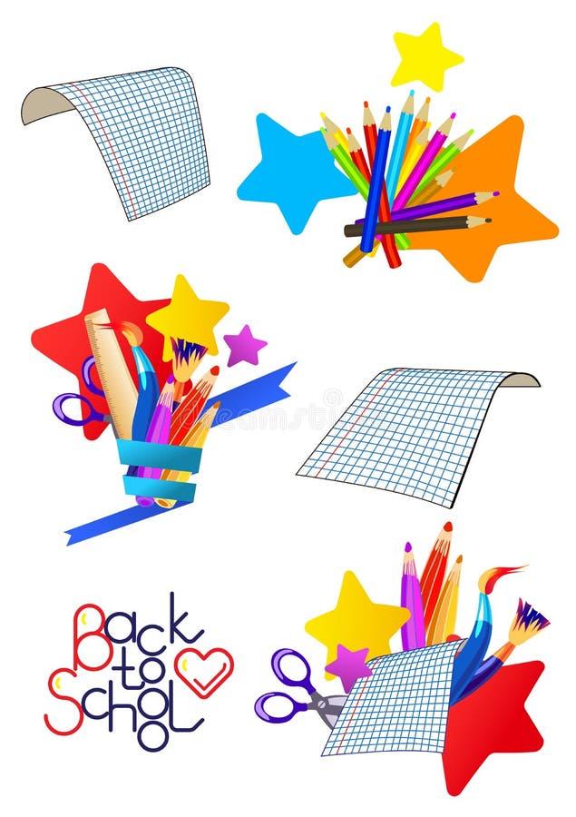 Ajuste dos ícones dos desenhos animados do vetor em um tema da escola ilustração royalty free
