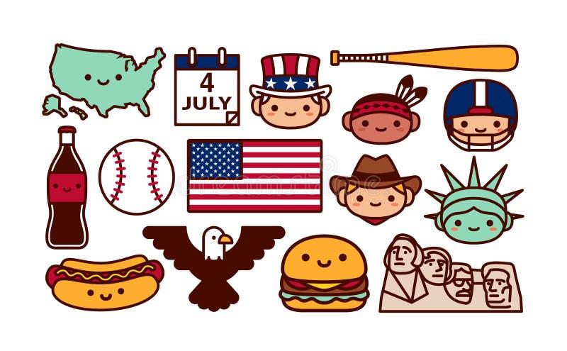 Ajuste dos ícones dos desenhos animados dos EUA isolado ilustração do vetor