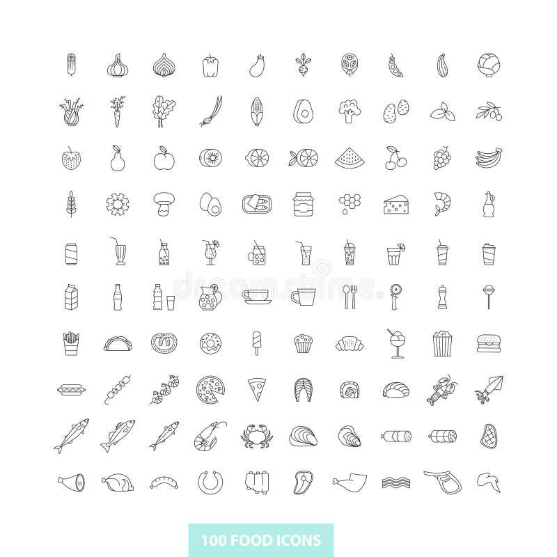 Ajuste dos ícones do alimento do esboço ilustração royalty free