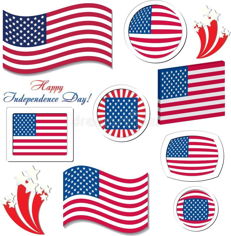Ajuste dos ícones do botão da celebração do Dia da Independência dos EUA ilustração stock