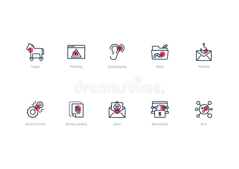 Ajuste dos ícones do vírus de computador do curso com acento vermelho isolados no fundo claro ilustração do vetor
