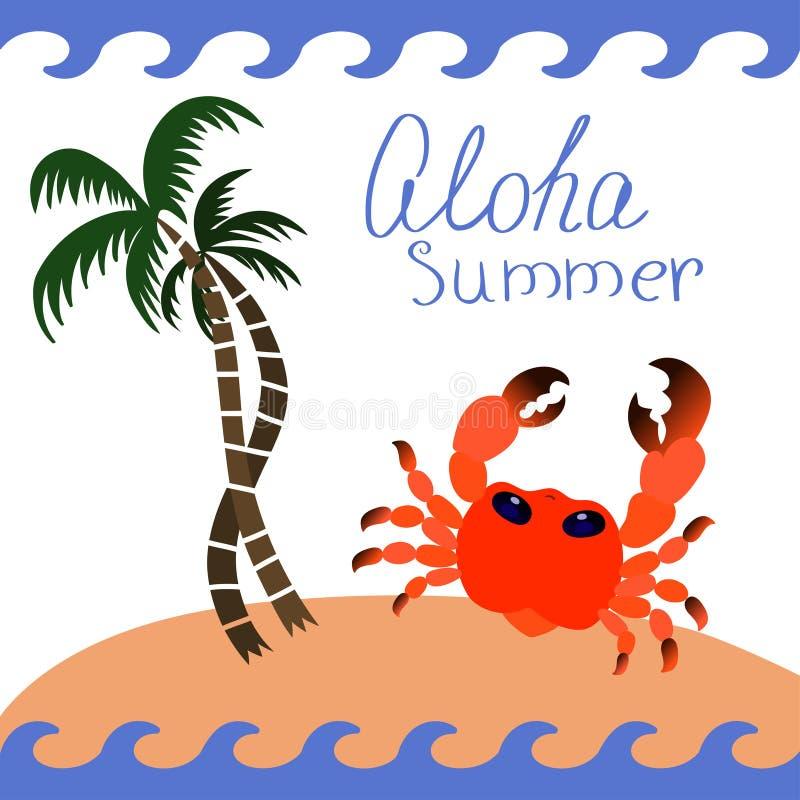 Ajuste dos ícones do verão, caranguejo sob a imagem do vetor da palmeira ilustração do vetor