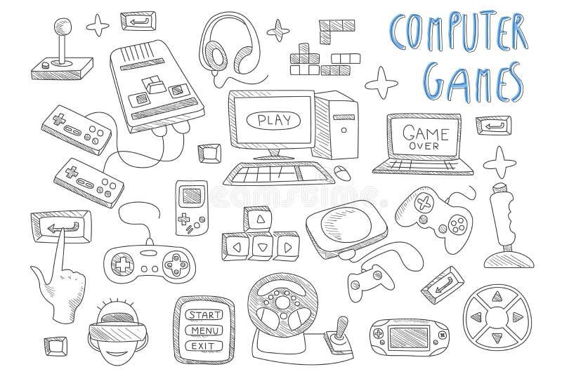 Ajuste dos ícones do vetor da garatuja relativos aos jogos de computador Manches, controladores do jogo, computador e portátil Ga ilustração do vetor