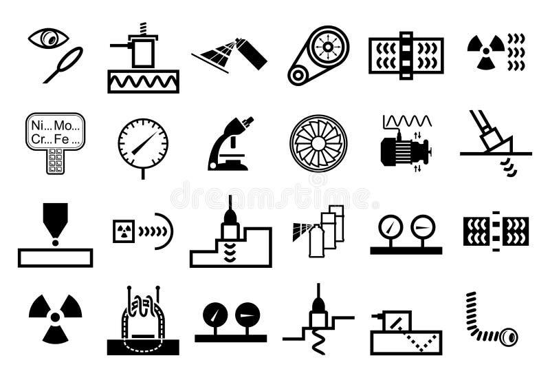 Ajuste dos ícones do vetor de métodos do ndt ilustração royalty free