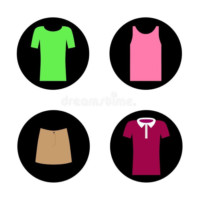 Ajuste dos ícones do vetor de quatro partes de roupa para a mulher ilustração royalty free