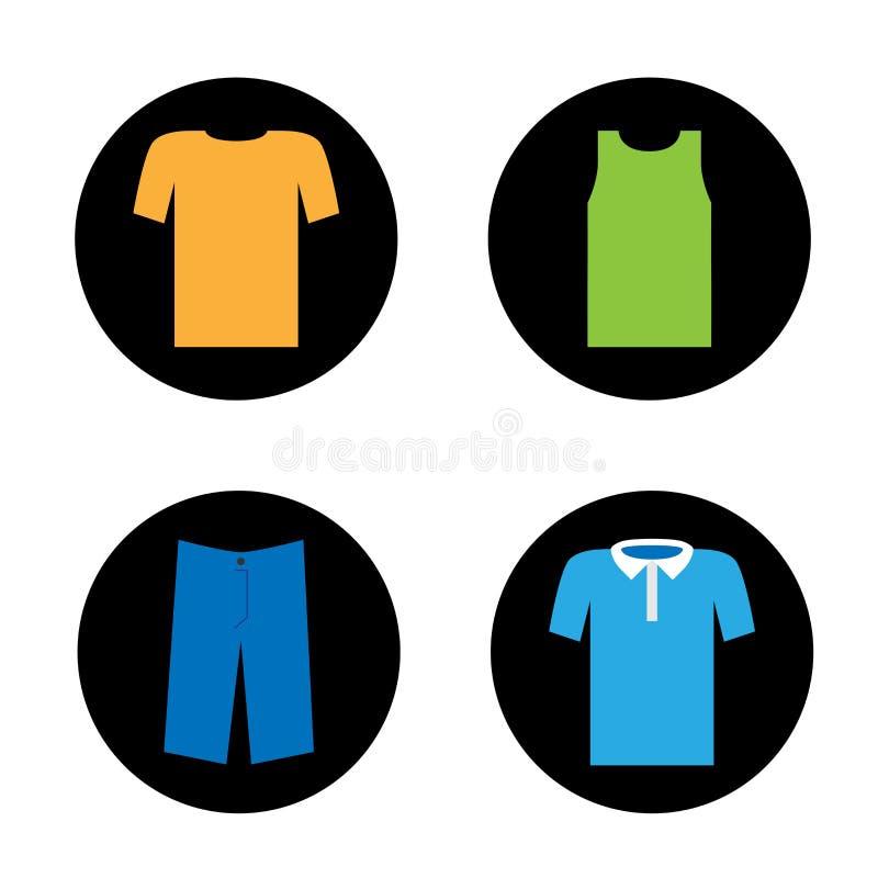 Ajuste dos ícones do vetor de quatro partes de roupa para o homem ilustração royalty free