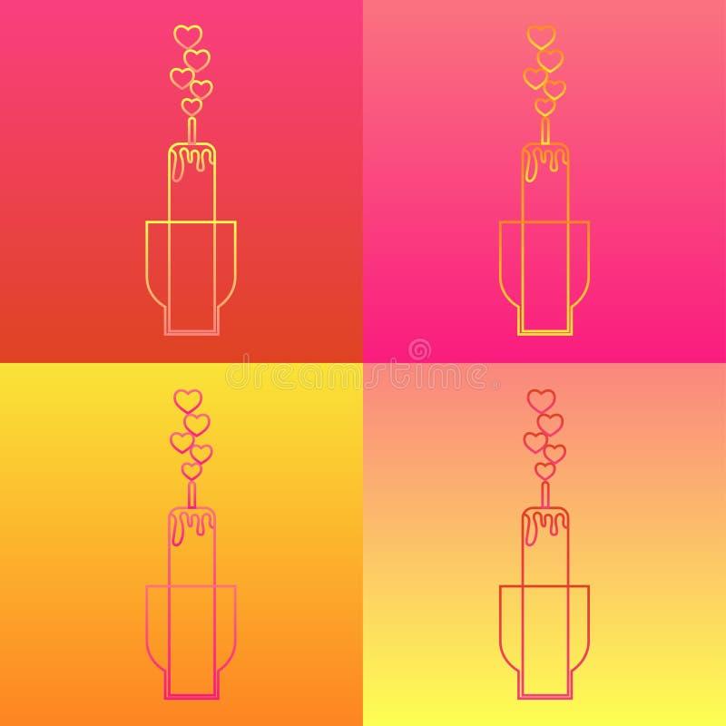 Ajuste dos ícones em quatro fundos coloridos Vela romântica no suporte e fogo na forma dos corações ilustração royalty free